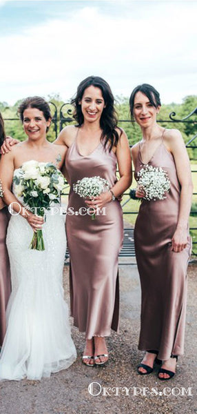Backless Charming Simple Spaghetti Strap Sleeveless Side Slit Long Cheap Bridesmaid Dresses, TYP2080