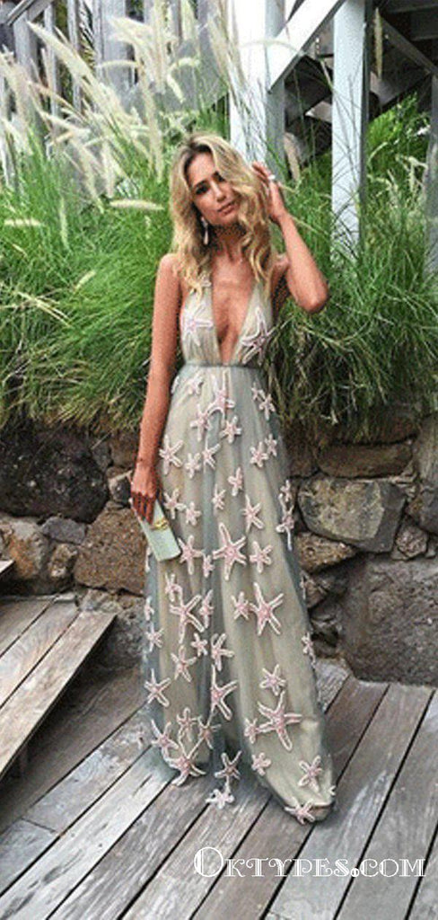 Sexy Deep V-Neck A-line Long Cheap Prom Dresses With Applique, TYP1848