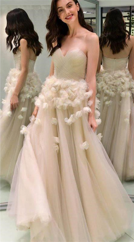 Elegant Sweetheart long Cheap Prom Dresses With Handmade Flowers, TYP1430