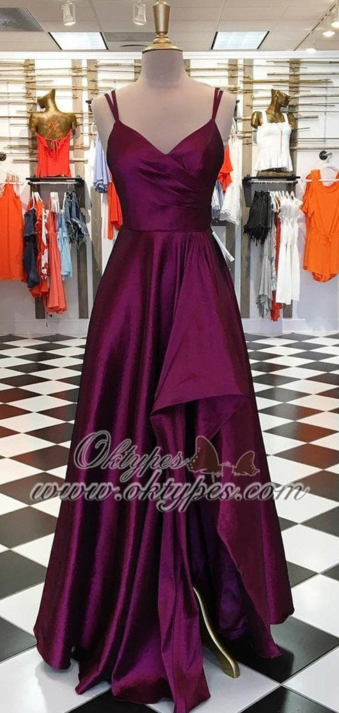 2019 Charming Purple Simple Plum Satin Long Side Slit Prom Dresses, TYP1572