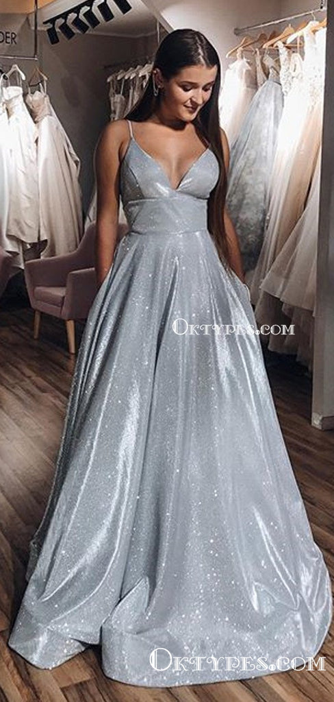 A-line V-neck Spaghetti Straps Long Sparkle Silver Sequin Long Cheap Prom Dresses with Pockets, PDS0034