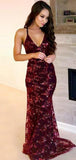 Claret Long Mermaid Prom Dresses, Sequin Prom Dresses, Lace Prom Dresses, Deep V-neck Prom Dresses, Backless Prom Dresses, TYP0277