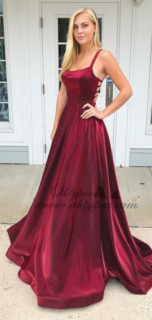 2019 Charming Simple Burgundy Straps Long Satin Prom Dresses, TYP1596