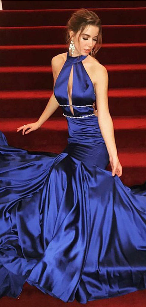 Mermaid High Neck Sweep Train Royal Blue Prom Dresses with Keyhole, TYP1439
