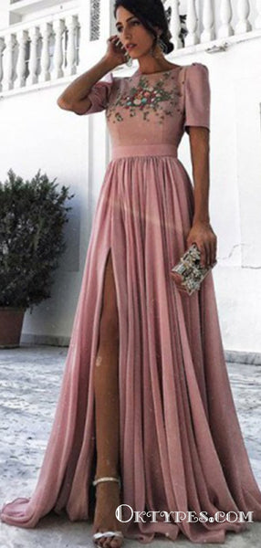 A-Line Bateau Short Sleeves Dusty Pink Long Prom Dresses with Beading&Rhinestones, TYP1628