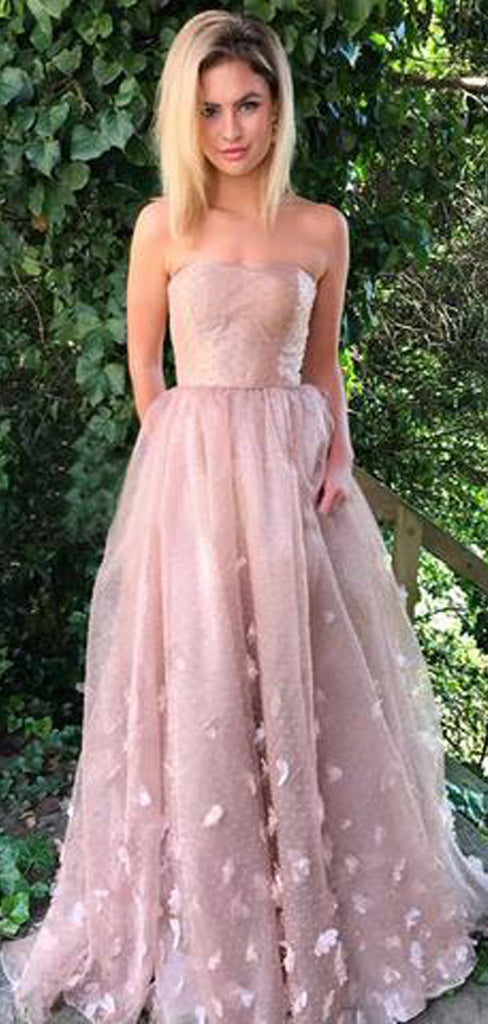Charming Pink Strapless Tulle Long Cheap Prom Dresses With Applique, TYP1428
