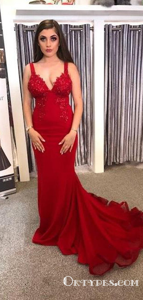 Gorgeous Mermaid V Neck Straps Dark Red Lace Long Prom Dresses, TYP1726