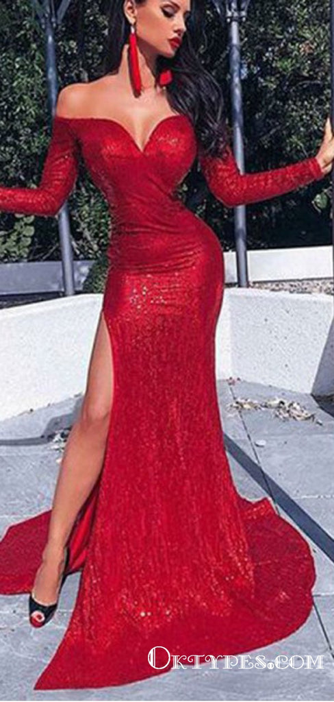 Mermaid Off the Shoulder Red Sequin Long Prom Dresses with Sleeves, TYP1635