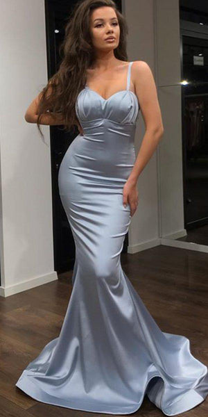 Newest Mermaid Spaghetti Strap Satin Evening Party Long Cheap Formal Prom Dresses, PDS0057