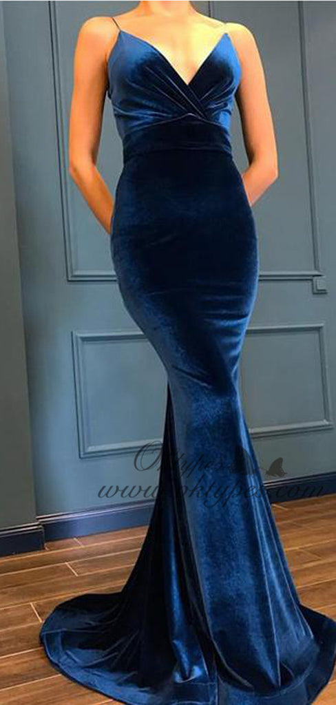 Blue Spaghetti Strap V Neck  Mermaid Velvet Prom Dresses, TYP1576