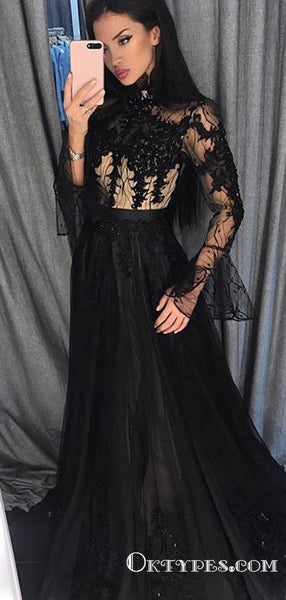 Black Long Sleeves High Neck Evening Gowns with Appliques Prom Dresses, TYP1905