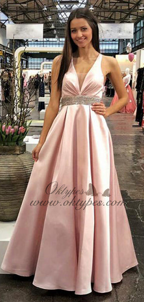 Charming Pink V-neck Long Cheap Prom Dresses With Beaded, TYP1602