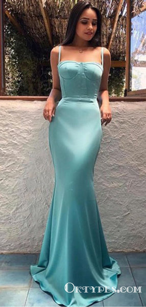 Charming Mermaid Spaghetti Straps Sleeveless Blue Long Prom Dresses, TYP1626