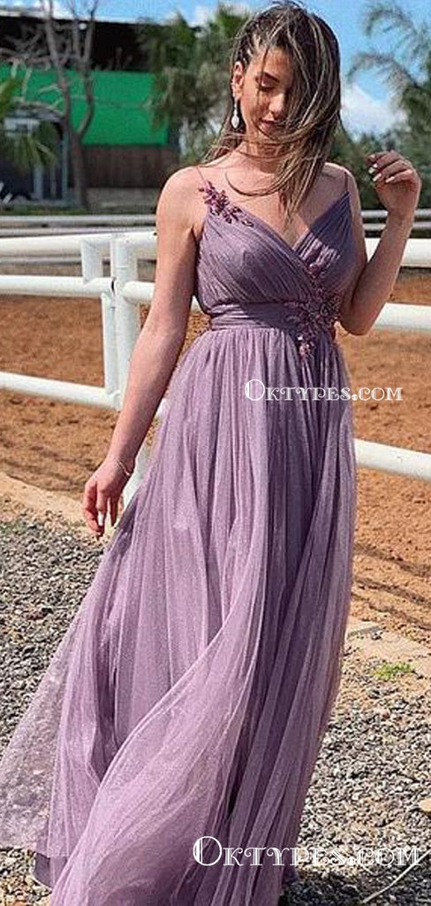 Charming V-neck Spaghetti Strap Lavender Tulle Lace Appliqued A-line Long Cheap Evening Prom Dresses, PDS0046