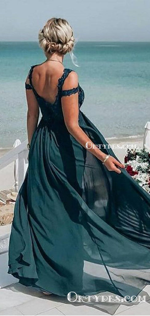 Charming Newest Chiffon Simple Off The Shoulder Lace Dark Green Long Cheap Prom Dresses, PDS0041