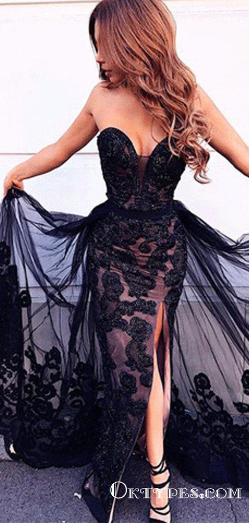 Mermaid Sweetheart Split Front Detachable Train Black Lace Prom Dresses, TYP1849