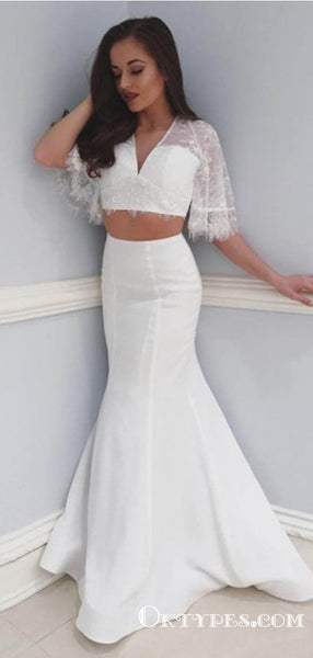 Two Piece Mermaid V-Neck White Floor Length Prom Dresses with Short Sleeve, TYP1862