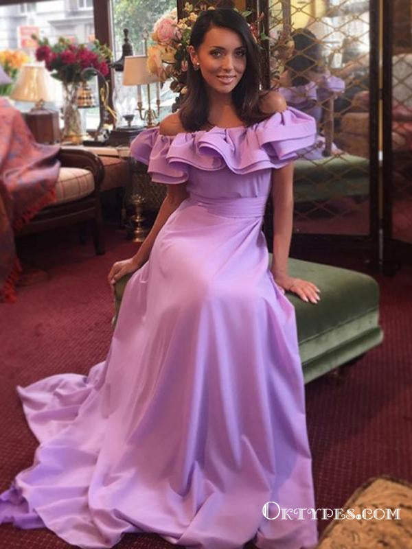 A-Line Off the Shoulder Lilac Long Prom Dresses with Ruffles, TYP1636
