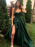 Simple Style Sweetheart Low Cut High Split A Line Sweep Train Dark Green Satin Prom Dresses, PDS0062