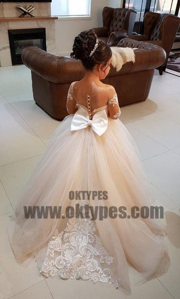Sweet Flower Girl Long Sleeve Lace applique Dress, Cute Flower Girl Dress, TYP0692