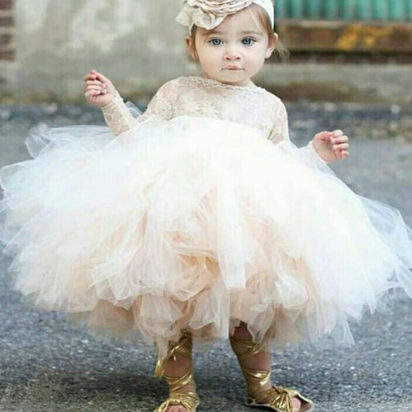 6f64b3bb4 Ball Gown Bateau Long Sleeves Short Tulle Cute Flower Girl Dress with Lace,  TYP1010