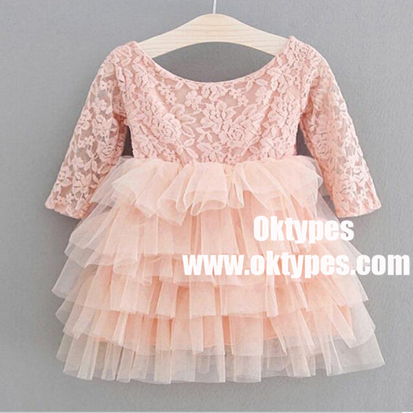 A-Line Round Neck Pleated Pink Tulle Flower Girl Dress with Flowers, TYP0970
