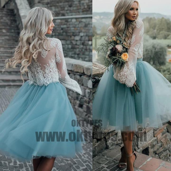 04b5b47dd4 2018 New Arrival Boho Style Long Sleeve See Through Lace Top Blue Tulle  Homecoming Dresses