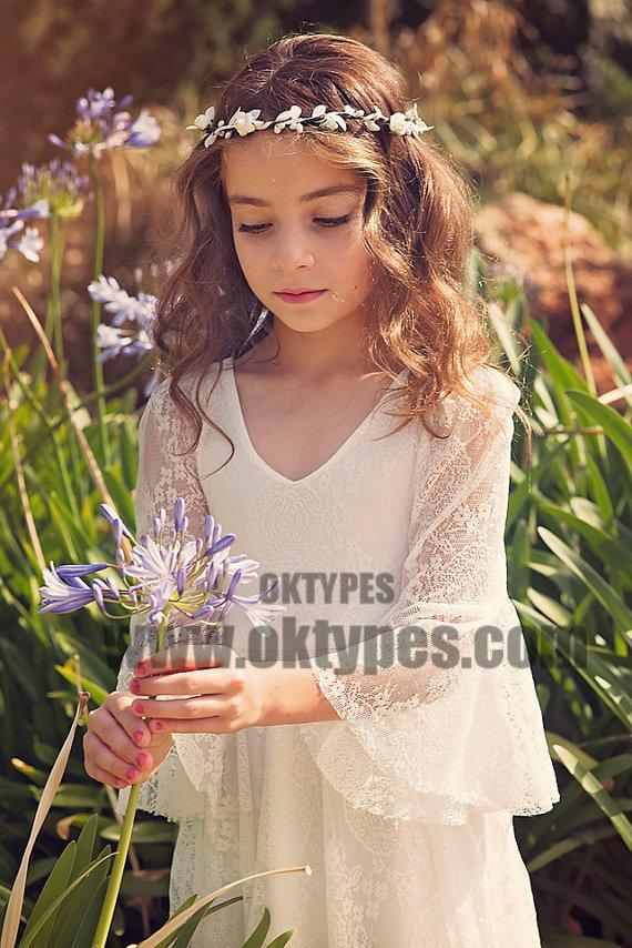 Boho Long Sleeve A-line Lace Flower Girl Dresses, Lovely Little Girl Dresses, TYP0622