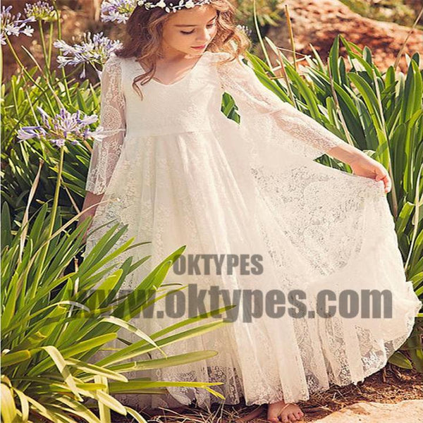 5617a3da78f09 Boho Long Sleeve A-line Lace Flower Girl Dresses