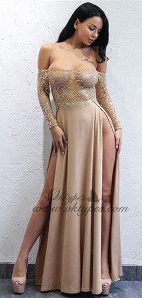 Sexy Long Sleeves Split Side Long Prom Dresses With Appliques