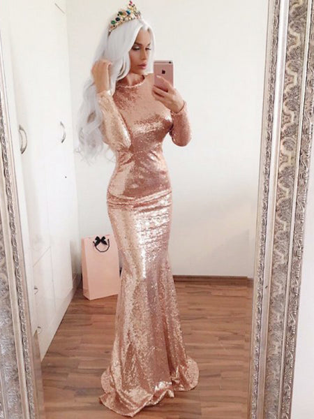 9d1f623fedf Mermaid Round Neck Long Sleeve Long Cheap Rose Gold Sequin Prom Dresses