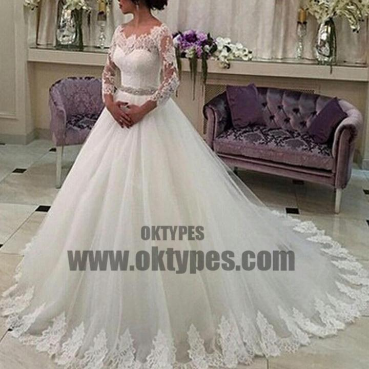 Scoop Neckline Long Sleeve See Through Long A-line Lace Tulle Wedding Party Dresses, TYP0653