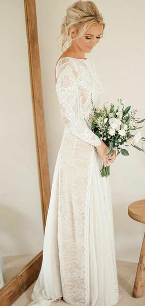 c4a06c8d98bb Long Sleeve Ivory Lace See Through Backless Boho Wedding Dresses, TYP1245