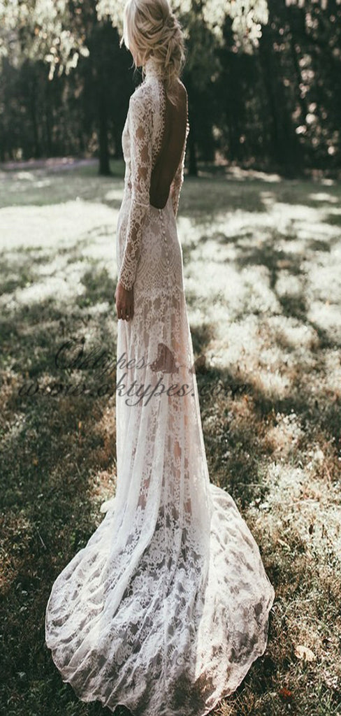 Mermaid High Neck Backless Long Sleeves Lace Beach Wedding Dresses, TYP1415