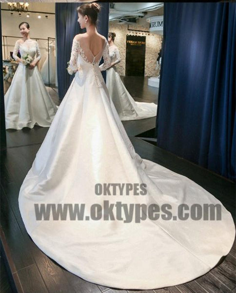 Long Sleeve Lace Tulle Wedding Dresses, Custom Made Long Wedding Gown, Cheap Wedding Gowns, TYP0597