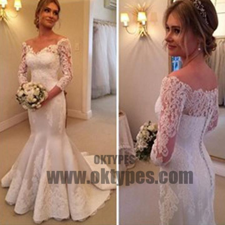 Charming Off Shoulder Long Sleeve Mermaid White Satin Lace Wedding Dresses, TYP0516