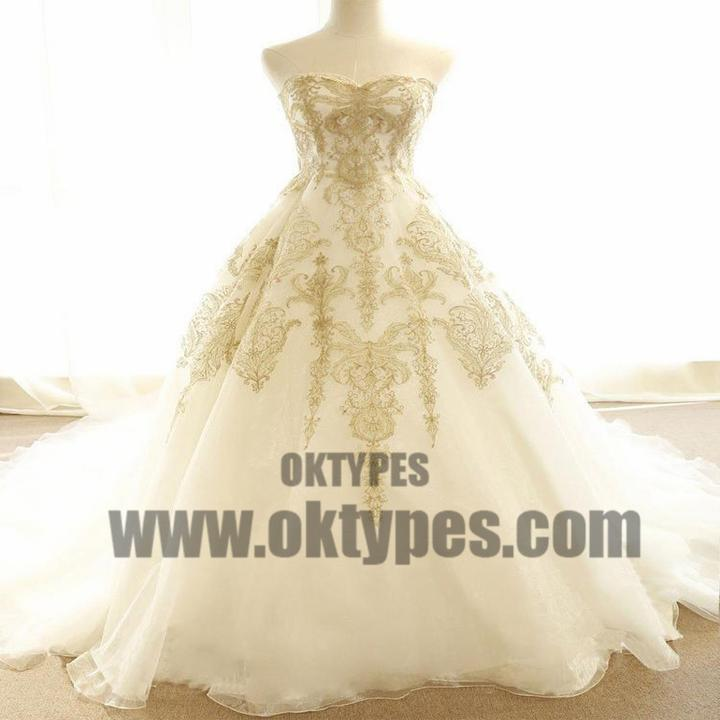 Chic Wedding Dresses Ivory Gold Appliques Sweep/Brush Train Bridal ...