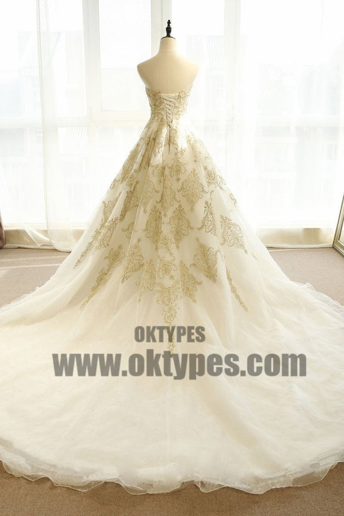 Chic Wedding Dresses Ivory Gold Appliques Sweep/Brush Train Bridal Gown, TYP0682