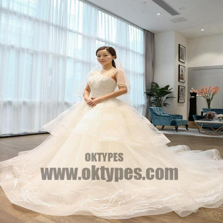 Two Straps Tulle Lace A line Long Tail Wedding Dresses, Custom Made ...