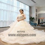 Two Straps Tulle Lace A line Long Tail Wedding Dresses, Custom Made Long Wedding Gown, Cheap Wedding Gowns, TYP0598