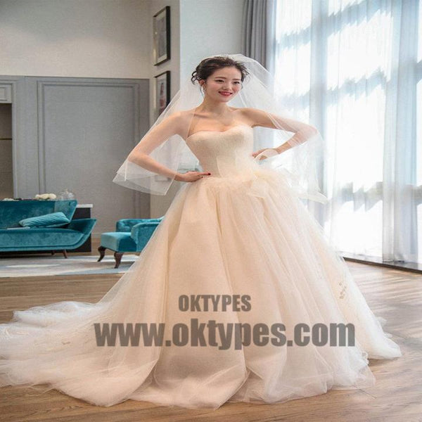 Strapless Simple Tulle A line Long Tail Wedding Dresses, Custom Made Long Wedding Dresses, Cheap Wedding Gowns, TYP0599
