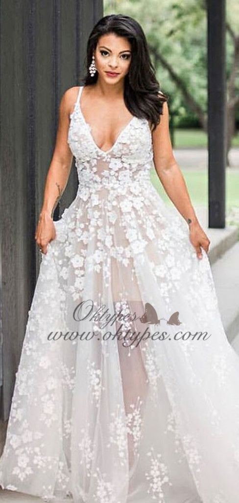 A-Line V-neck Sweep Train White Tulle Wedding Dress with Appliques, TYP1543
