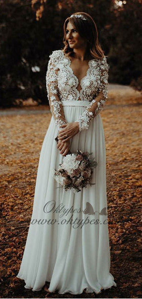 A-Line V-Neck Long Chiffon Wedding Dress with Appliques Flowers, TYP1546