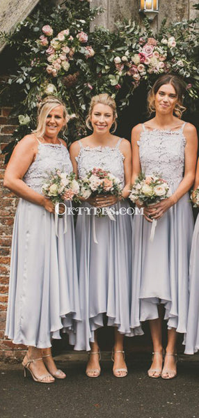 Straps Grey Top Lace Applique Cheap A-line Ankle Length Bridesmaid Dresses, BDS0087