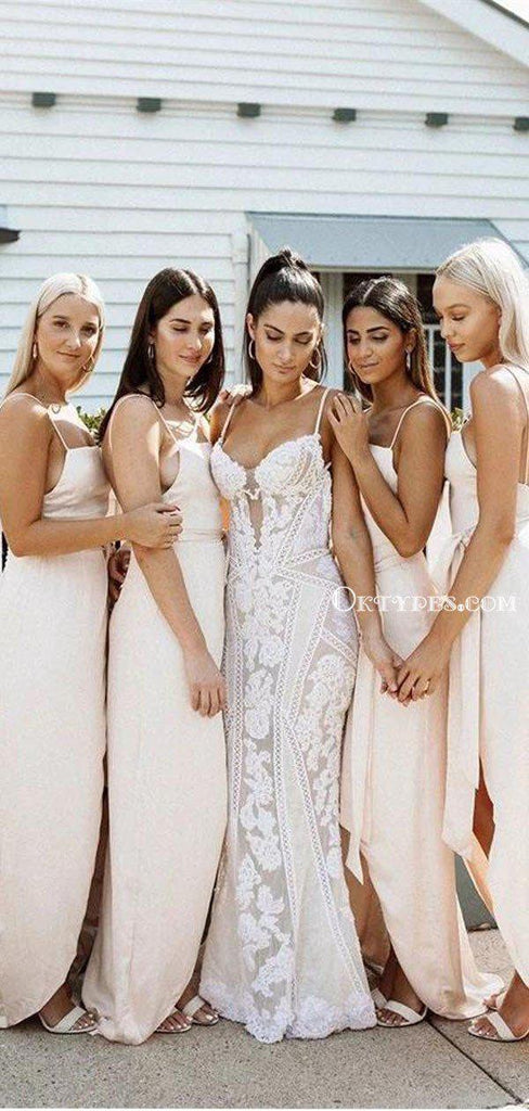 Simple Spaghetti Strap Sexy Backless Blush Pink Satin Side Slit Long Cheap Bridesmaid Dresses, BDS0009