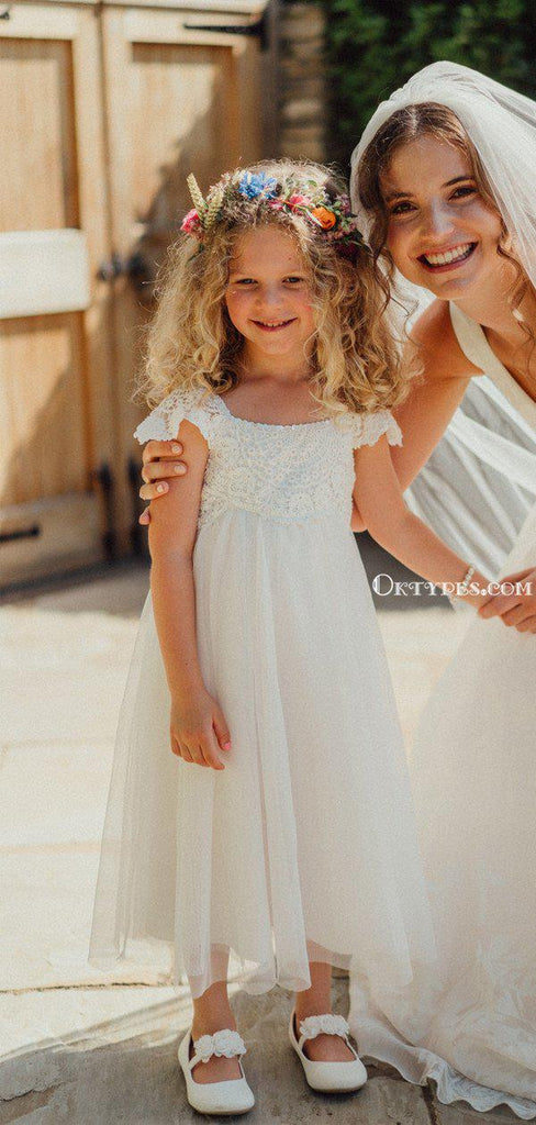 Cute Bateau Cap Sleeves tulle A-line Long Cheap Charming Flower Girl Dresses, FGS0015