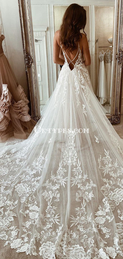 Spaghetti Strap Lace Appliqued Tulle A-line Long Cheap Wedding Dresses, WDS0063