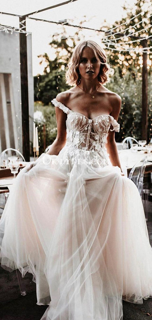 Off-The-Shoulder Lace Appliqued Tulle Long Cheap Wedding Dresses, WDS0068