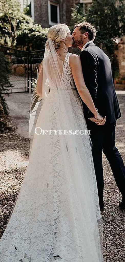 Elegant V-neck Backless Lace Mermaid Long Cheap Wedding Dresses, WDS0059