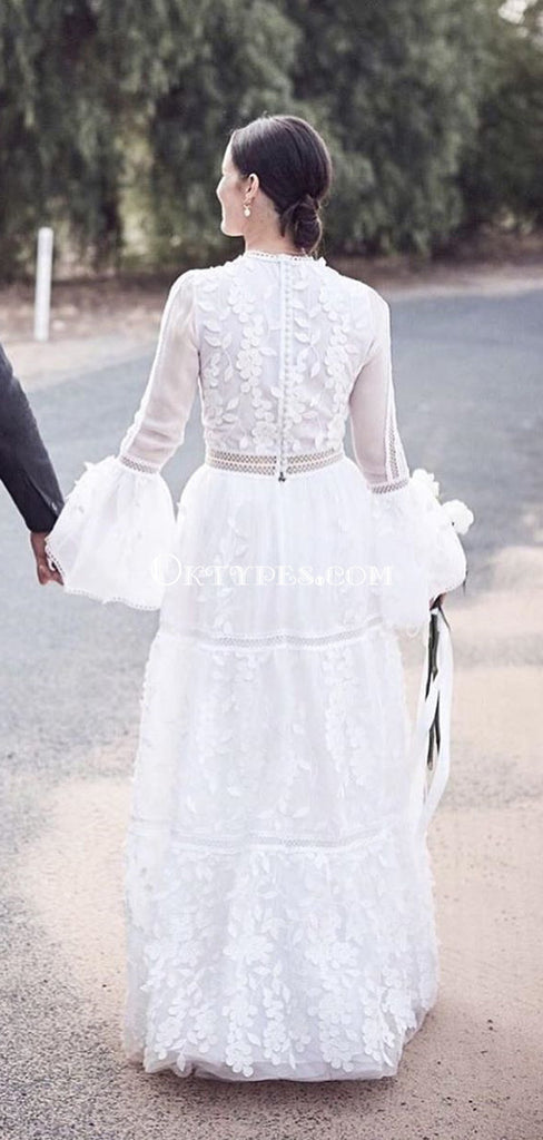 Long Sleeve High Neck Lace A-line Long Cheap Wedding Dresses, WDS0062